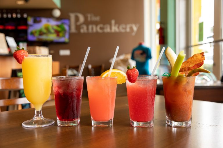 4 cocktails on table the pancakery