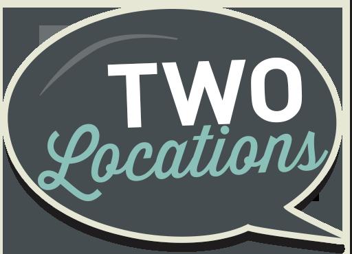 two locations speech bubble icon